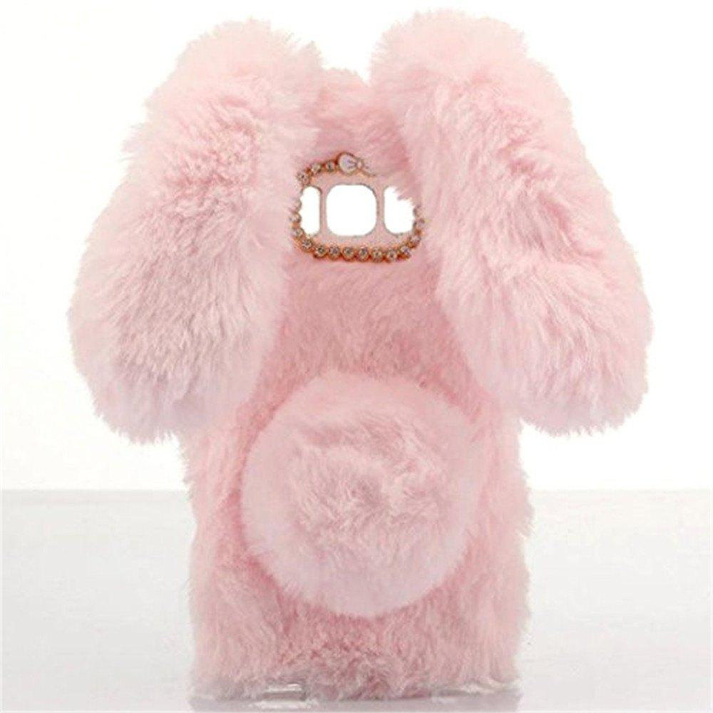 Cute Rabbit Hair Soft TPU Bling Phone Case for Samsung Galaxy S8 Cover - PINK