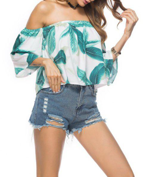 Women'S Print Wrapped Shoulder Sexy Loose T-Shirt - LIGHT BULE M