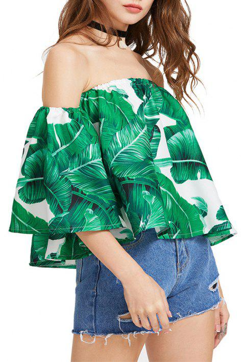 Women'S Print Wrapped Shoulder Sexy Loose T-Shirt - DEEP GREEN M