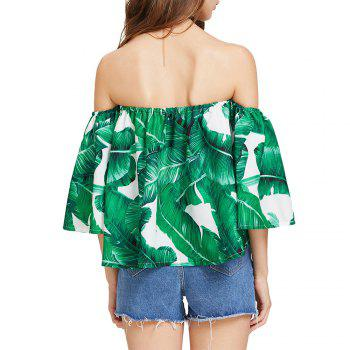 Women'S Print Wrapped Shoulder Sexy Loose T-Shirt - DEEP GREEN DEEP GREEN