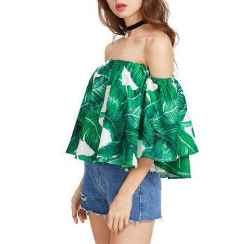 Women'S Print Wrapped Shoulder Sexy Loose T-Shirt - DEEP GREEN L