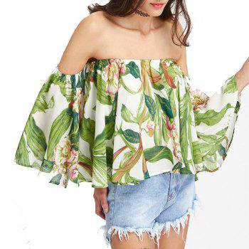 Women'S Print Wrapped Shoulder Sexy Loose T-Shirt - LIGHT GREEN XL