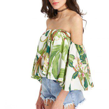 Women'S Print Wrapped Shoulder Sexy Loose T-Shirt - LIGHT GREEN M