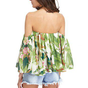 Women'S Print Wrapped Shoulder Sexy Loose T-Shirt - LIGHT GREEN L