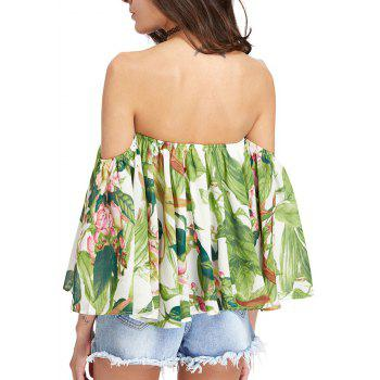 Women'S Print Wrapped Shoulder Sexy Loose T-Shirt - LIGHT GREEN S