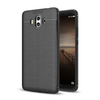 Luxury Leather Business Litchi Pattern PU Soft TPU Cover Case for  Huawei P10 Plus - BLACK BLACK