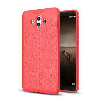 Luxury Leather Business Litchi Pattern PU Soft TPU Cover Case for  Huawei P10 Plus - RED RED