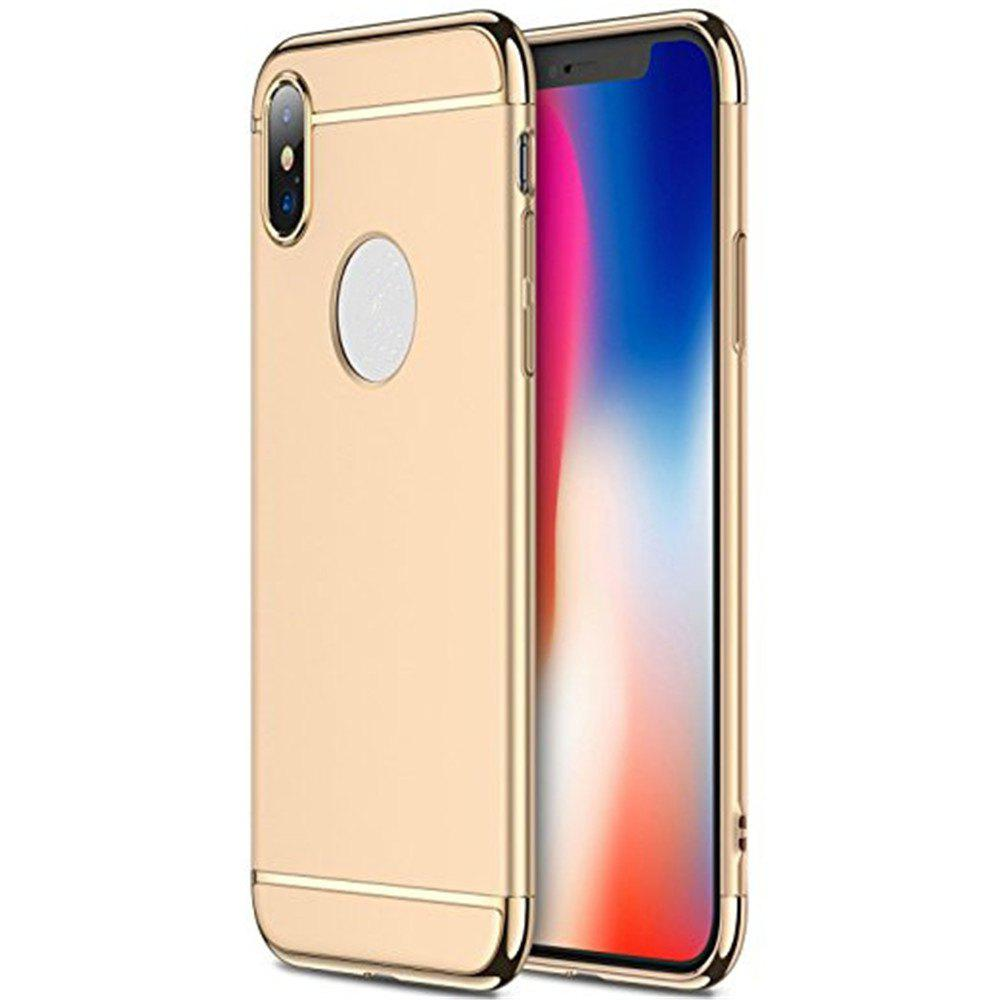 3 in 1 Hybrid Hard Plastic case Ultra Thin and Slim Anti-Scratch Matte Finish for over  iPhone X Case - GOLDEN
