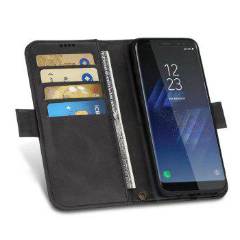 Wallet Premium Protective PU Leather Flip Cover Card Slot Side Pocket Magnetic for Samsung Galaxy S8 Case - BLACK
