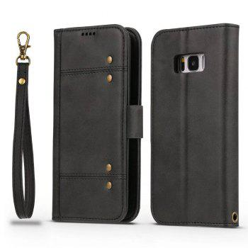 Wallet Premium Protective PU Leather Flip Cover Card Slot Side Pocket Magnetic for Samsung Galaxy S8 Case - BLACK BLACK