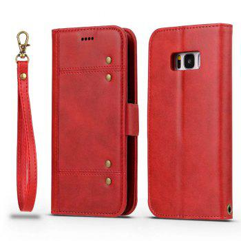 Wallet Premium Protective PU Leather Flip Cover Card Slot Side Pocket Magnetic for Samsung Galaxy S8 Case - RED RED
