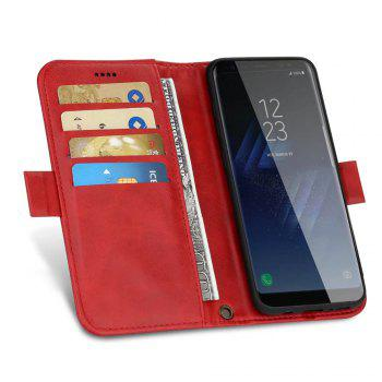 Wallet Premium Protective PU Leather Flip Cover Card Slot Side Pocket Magnetic for Samsung Galaxy S8 Case - RED