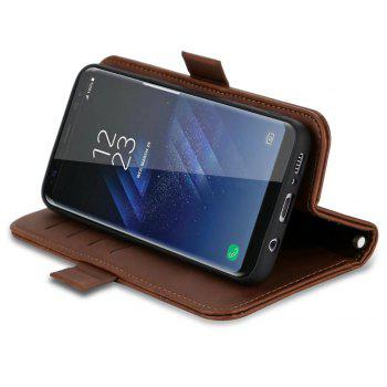 Wallet Premium Protective PU Leather Flip Cover Card Slot Side Pocket Magnetic for Samsung Galaxy S8 Case -  BROWN