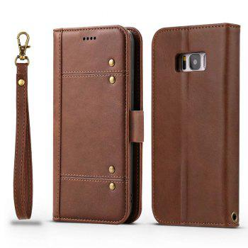 Wallet Premium Protective PU Leather Flip Cover Card Slot Side Pocket Magnetic for Samsung Galaxy S8 Case - BROWN BROWN