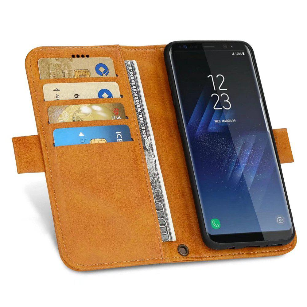 Wallet Premium Protective PU Leather Flip Cover Card Slot Side Pocket Magnetic for Samsung Galaxy S8 Case - ORANGE