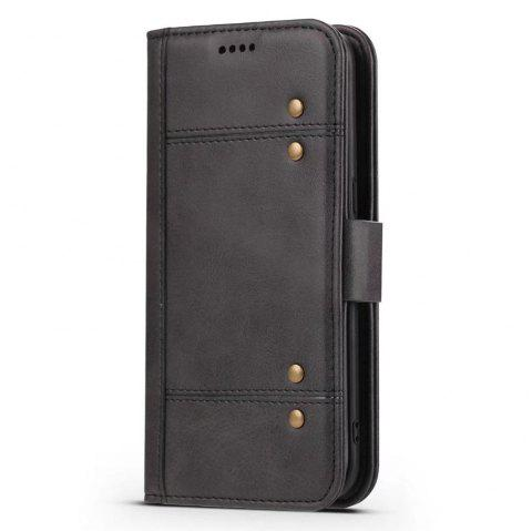 Wallet  Premium Protective PU Leather Flip Cover Card Slot Side Pocket Magnetic for  Samsung Galaxy S8 Plus Case - BLACK