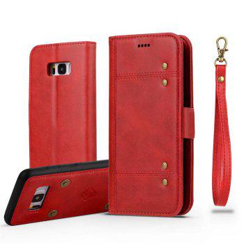 Wallet  Premium Protective PU Leather Flip Cover Card Slot Side Pocket Magnetic for  Samsung Galaxy S8 Plus Case - RED