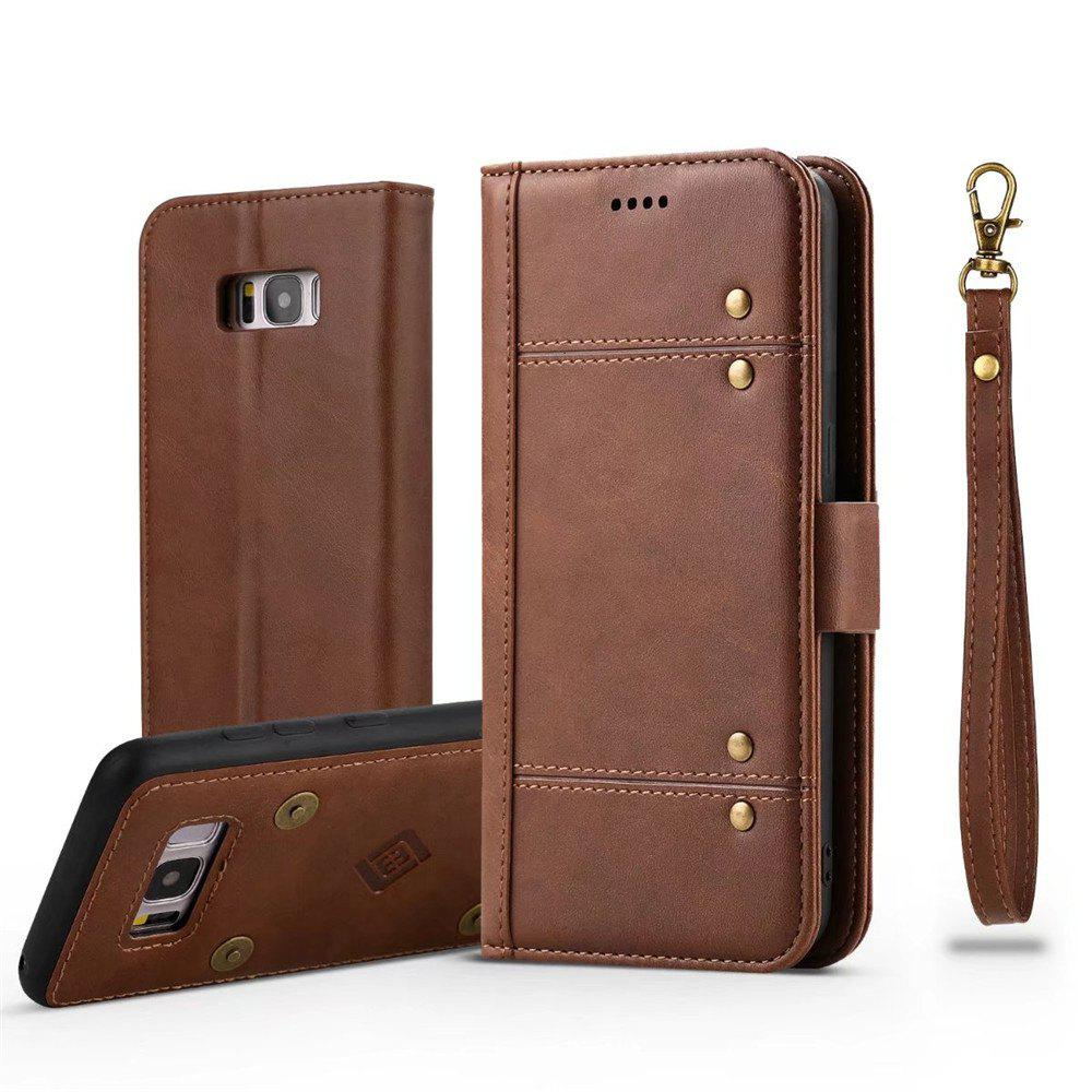 Wallet  Premium Protective PU Leather Flip Cover Card Slot Side Pocket Magnetic for  Samsung Galaxy S8 Plus Case - BROWN