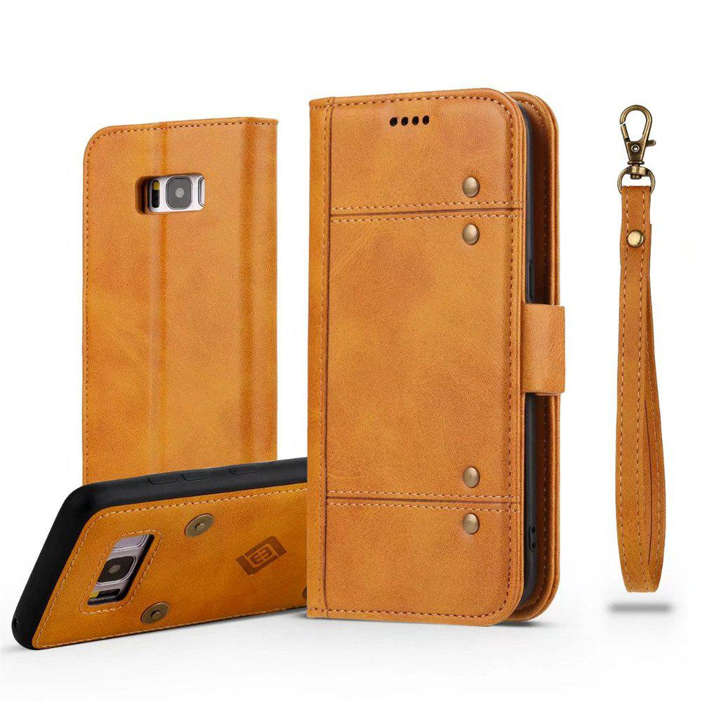 Wallet  Premium Protective PU Leather Flip Cover Card Slot Side Pocket Magnetic for  Samsung Galaxy S8 Plus Case - ORANGE