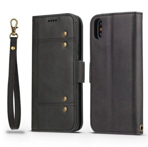 Premium Protective PU Leather Flip Cover Card Slot Side Pocket Magnetic for iPhone X - BLACK