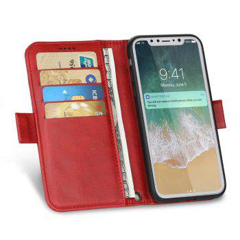 Premium Protective PU Leather Flip Cover Card Slot Side Pocket Magnetic for iPhone X - RED