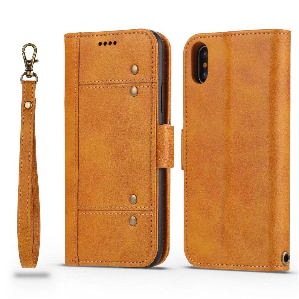 Premium Protective PU Leather Flip Cover Card Slot Side Pocket Magnetic for iPhone X - ORANGE