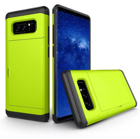 Card Holder ID Slot Sliding Cover Hidden Pocket Dual Layer Bumper Protective Hard Shell Tough Hybrid PC Rubber Armor for Samsung Note 8 Case - GREEN