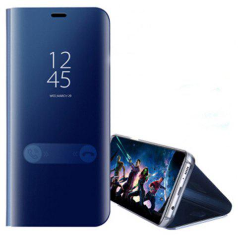 for Samsung Galaxy Note 8 Cover with Stand Mirror Auto Sleep/Wake Up Full Body Case Solid Color Hard PU Leather - BLUE