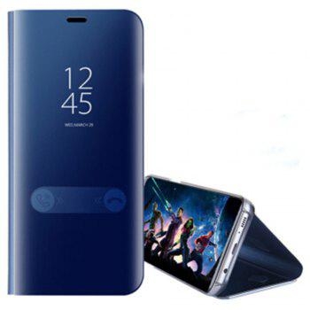 for Samsung Galaxy Note 8 Cover with Stand Mirror Auto Sleep/Wake Up Full Body Case Solid Color Hard PU Leather - BLUE BLUE