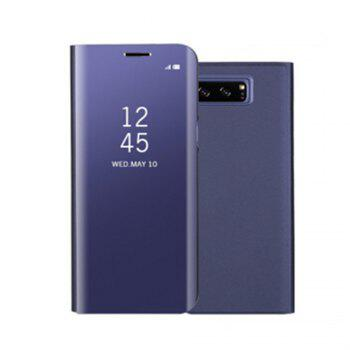for Samsung Galaxy Note 8 Cover with Stand Mirror Auto Sleep/Wake Up Full Body Case Solid Color Hard PU Leather - PURPLE PURPLE