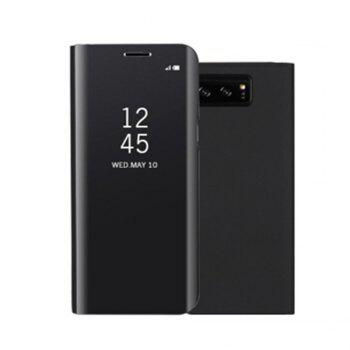 for Samsung Galaxy Note 8 Cover with Stand Mirror Auto Sleep/Wake Up Full Body Case Solid Color Hard PU Leather - BLACK BLACK