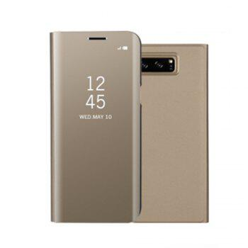 for Samsung Galaxy Note 8 Cover with Stand Mirror Auto Sleep/Wake Up Full Body Case Solid Color Hard PU Leather - GOLDEN GOLDEN