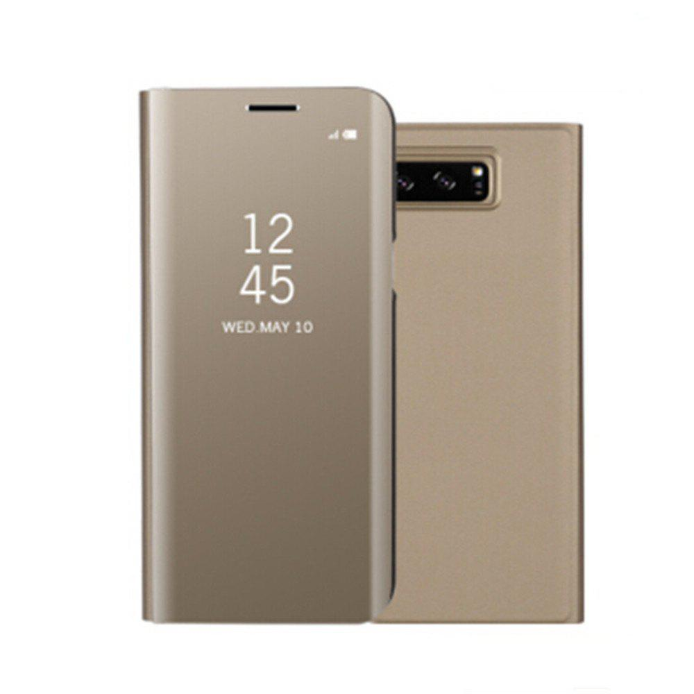 for Samsung Galaxy Note 8 Cover with Stand Mirror Auto Sleep/Wake Up Full Body Case Solid Color Hard PU Leather - GOLDEN