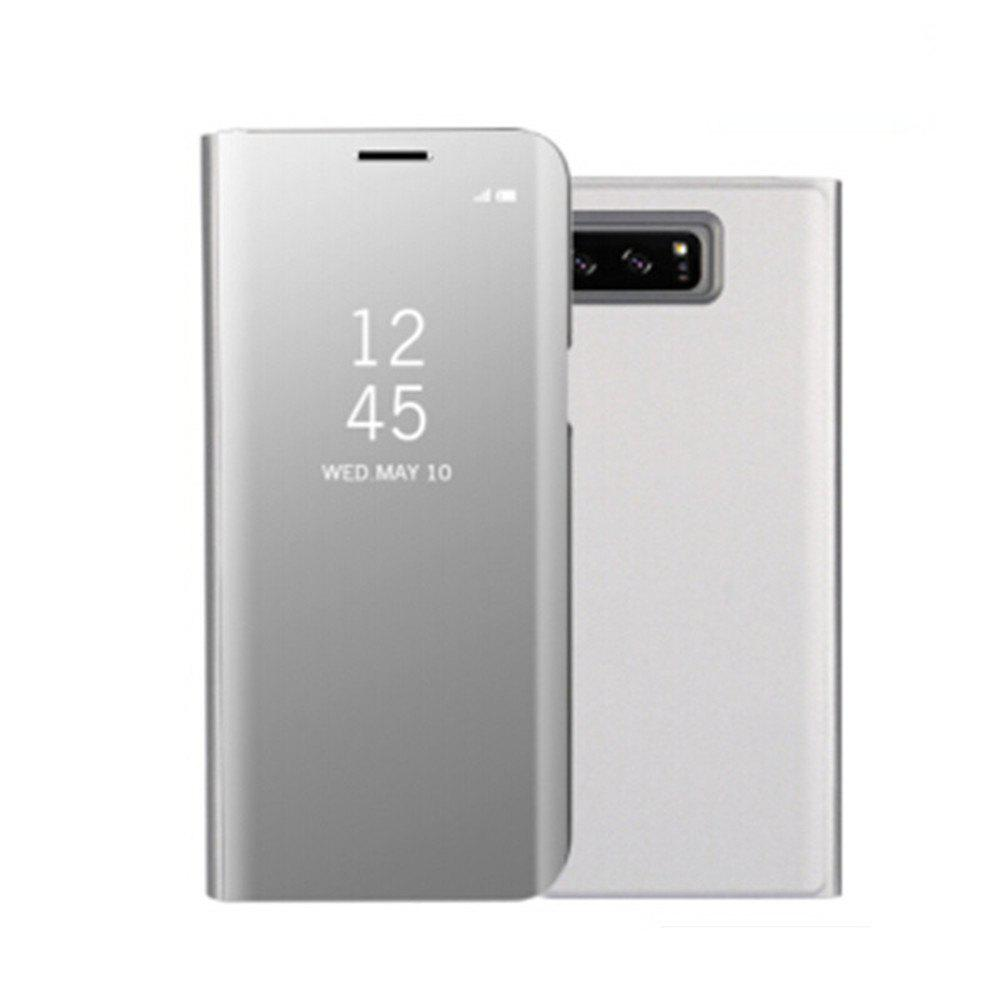 for Samsung Galaxy Note 8 Cover with Stand Mirror Auto Sleep/Wake Up Full Body Case Solid Color Hard PU Leather - SILVER