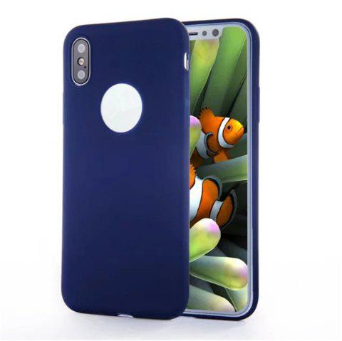For iPhone X Shockproof Back Cover Case Solid Color Soft TPU - BLUE