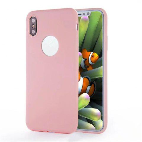 For iPhone X Shockproof Back Cover Case Solid Color Soft TPU - PINK