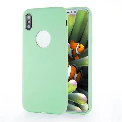 For iPhone X Shockproof Back Cover Case Solid Color Soft TPU - GREEN