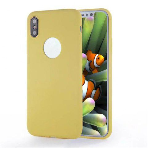 For iPhone X Shockproof Back Cover Case Solid Color Soft TPU - YELLOW