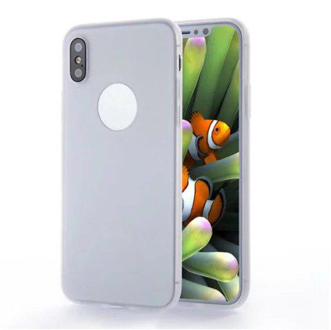 For iPhone X Shockproof Back Cover Case Solid Color Soft TPU - WHITE