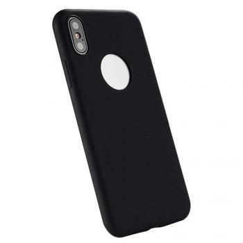For iPhone X Shockproof Back Cover Case Solid Color Soft TPU - BLACK