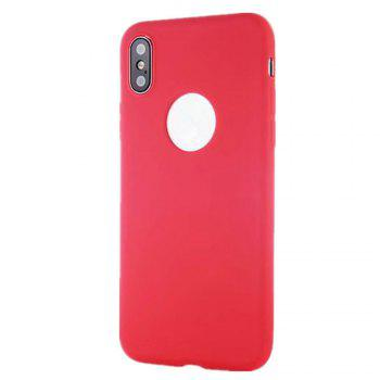 For iPhone X Shockproof Back Cover Case Solid Color Soft TPU - RED