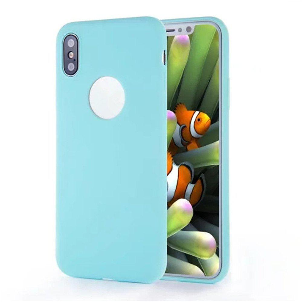 For iPhone X Shockproof Back Cover Case Solid Color Soft TPU - LIGHT BLUE