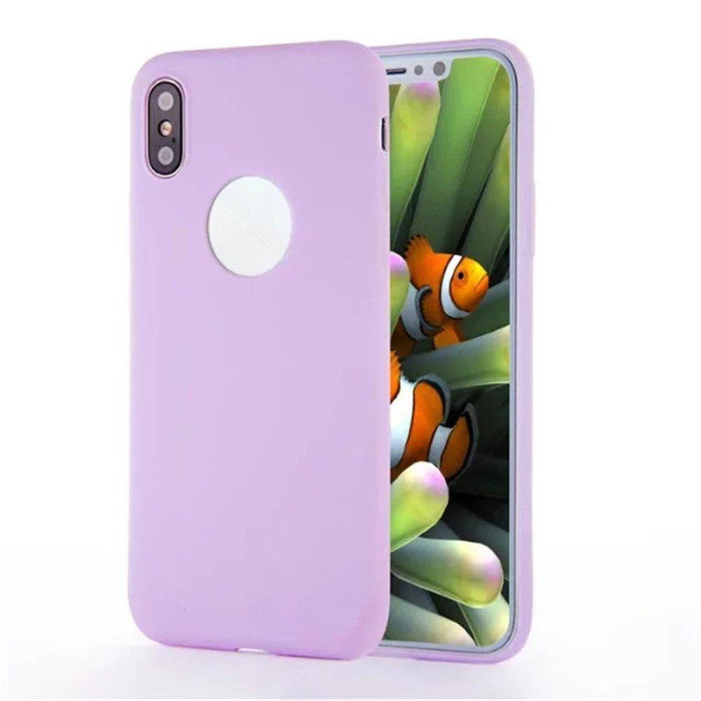 For iPhone X Shockproof Back Cover Case Solid Color Soft TPU - PURPLE