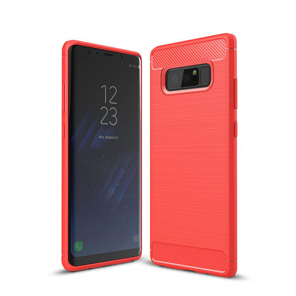 Frosted Back  Case Solid Color Soft TPU for Samsung Note 8 - RED