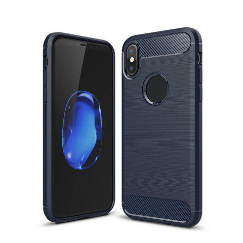 High Quality Good Hand Feeling Wire Drawing Case TPU Soft Back Cover for iPhone X - BLUE