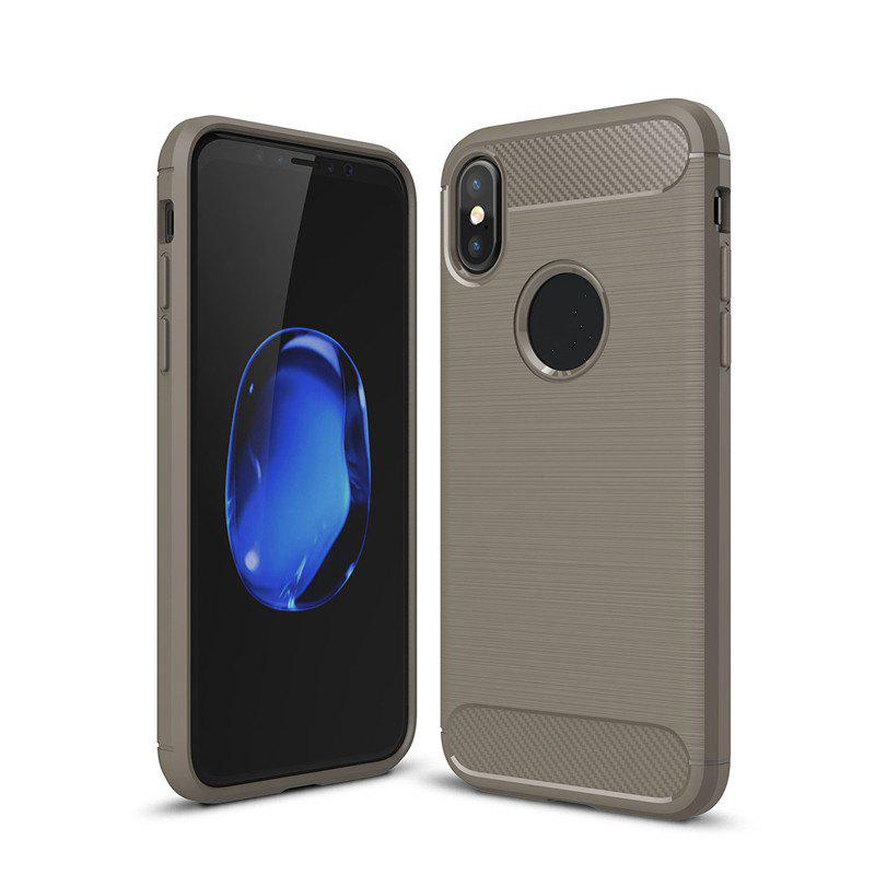 High Quality Good Hand Feeling Wire Drawing Case TPU Soft Back Cover for iPhone X - GRAY