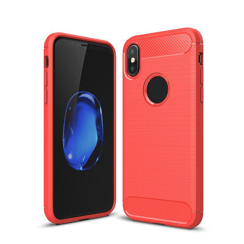 High Quality Good Hand Feeling Wire Drawing Case TPU Soft Back Cover for iPhone X - RED