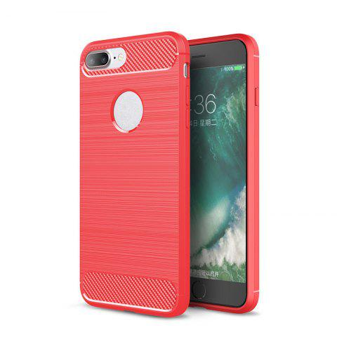 Shock Resistant Antiskid Drawing Carbon Fiber Grain Turnkey TPU Case Cover for iPhone 8 Plus / 7 Plus - RED