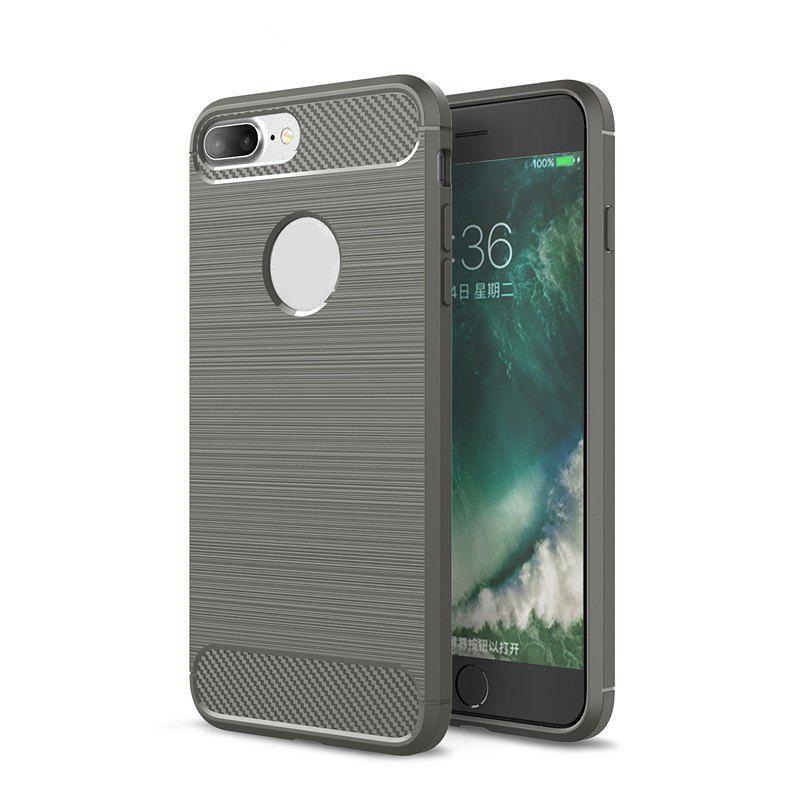 Shock Resistant Antiskid Drawing Carbon Fiber Grain Turnkey TPU Case Cover for iPhone 8 Plus / 7 Plus - GRAY