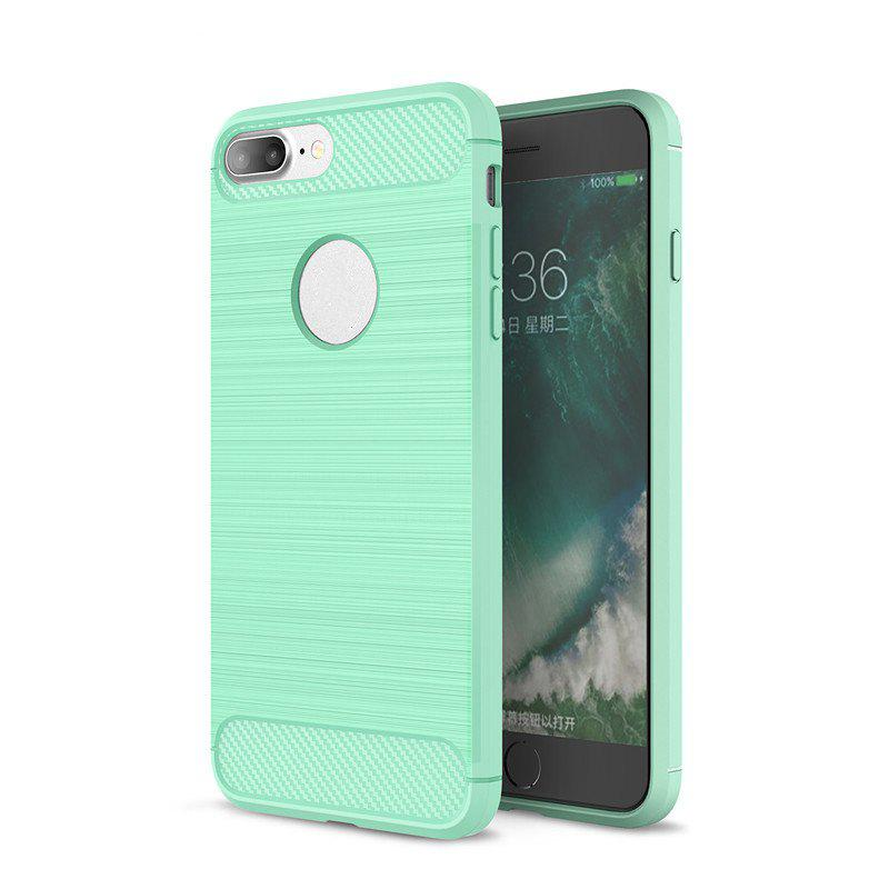 Shock Resistant Antiskid Drawing Carbon Fiber Grain Turnkey TPU Case Cover for iPhone 8 Plus / 7 Plus - GREEN